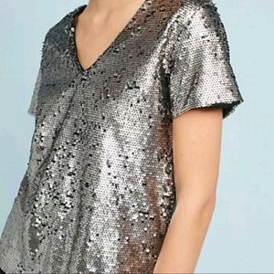 Vanessa Virginia Sequin V Neck T Size Large